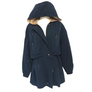 FLEET STREET WOMEN's PARKA SIZE SMALL trench coat hooded button front pockets